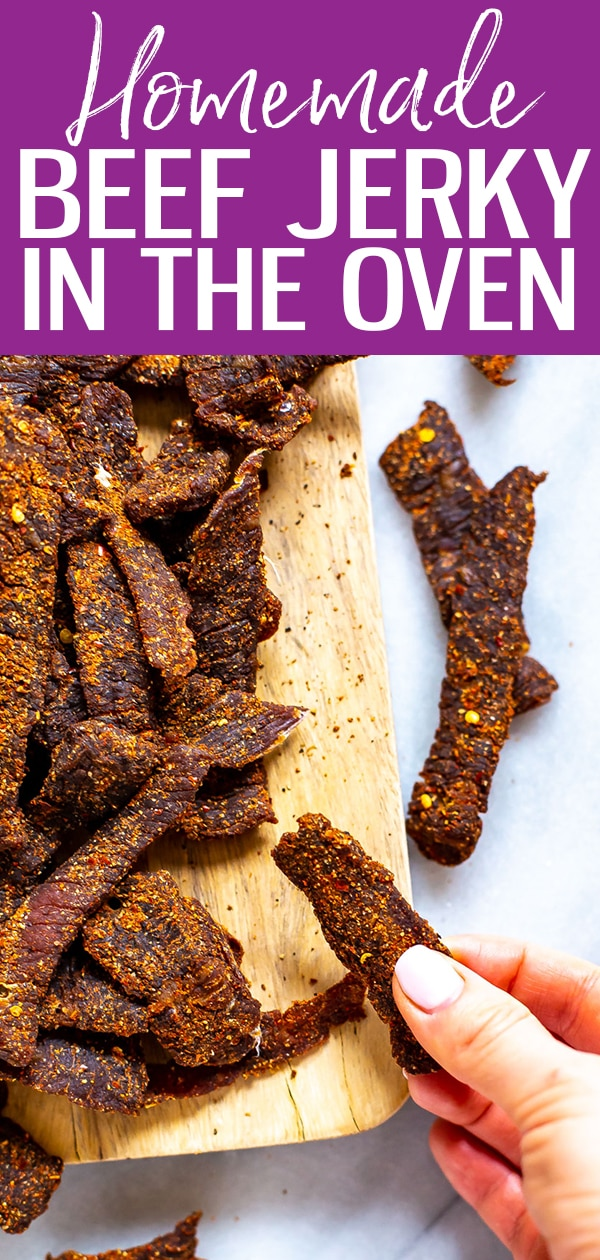 My homemade beef jerky recipe is way healthier & cheaper than the packaged stuff, & it's easy to make! All you need to do is put your oven on a low setting! #beefjerky #healthysnacks #mealprep