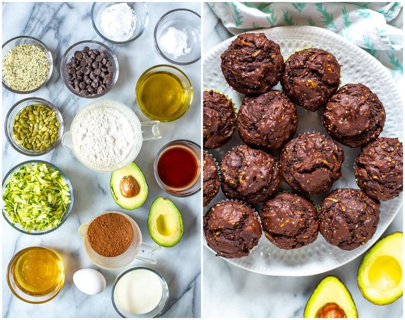 Avocado Zucchini Chocolate Muffins