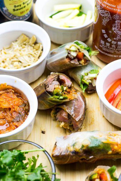 Steak and Kimchi Summer Rolls (Video!)