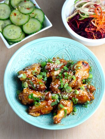 Korean Chicken Wings & Cucumber Salad