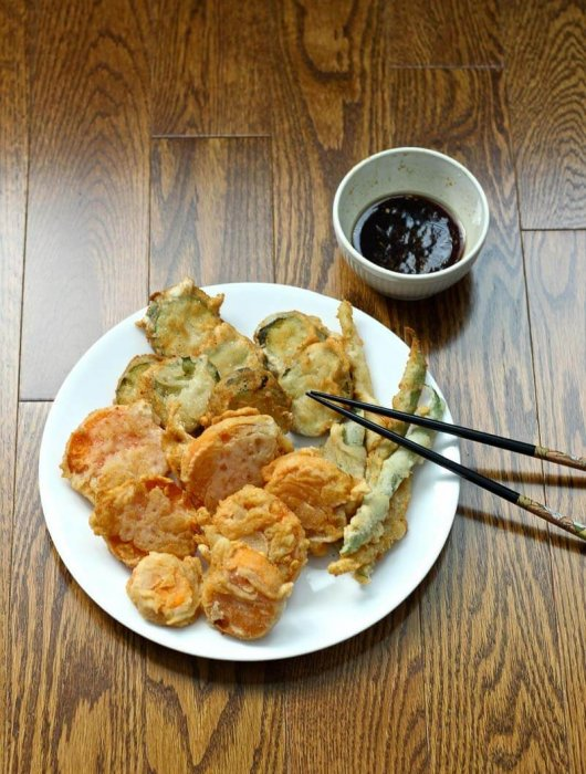 Beef Enoki Rolls & Homemade Vegetable Tempura