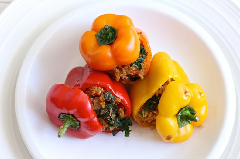 Quinoa and Turkey Stuffed Mini Bell Peppers