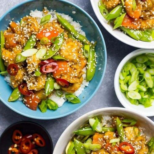 Sesame chicken rice bowls