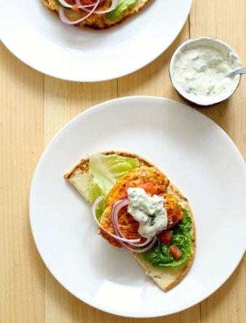 Tandoori Chicken Burgers & Cucumber Raita