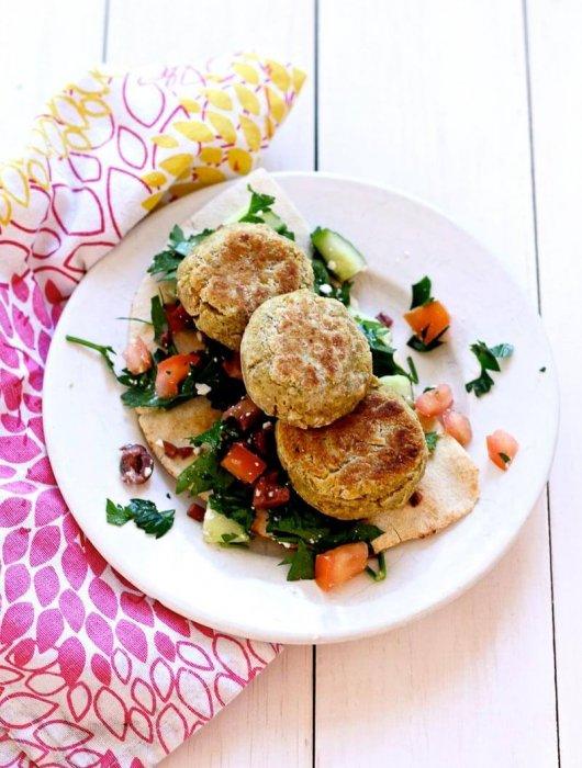 Baked Falafels and Mediterranean Salad