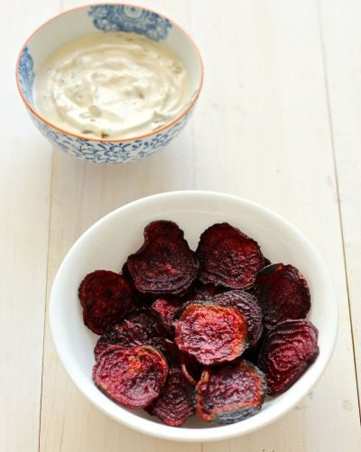 Beet Chips with Homemade French Onion Dip