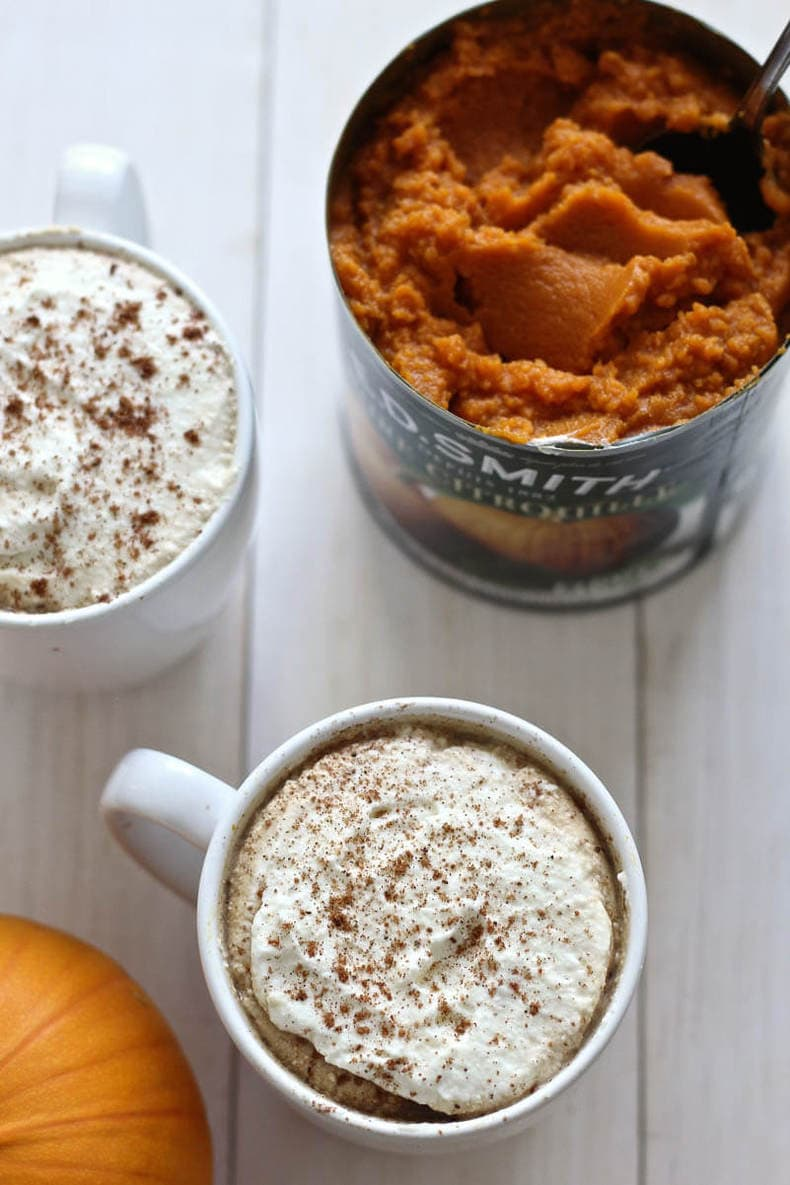 Pumpkin Spice Lattes with Real Pumpkin Puree