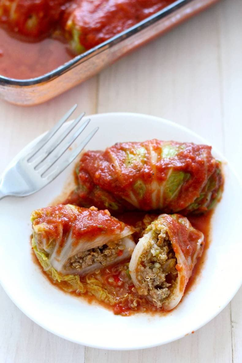 Healthier Napa Cabbage Rolls with Quinoa