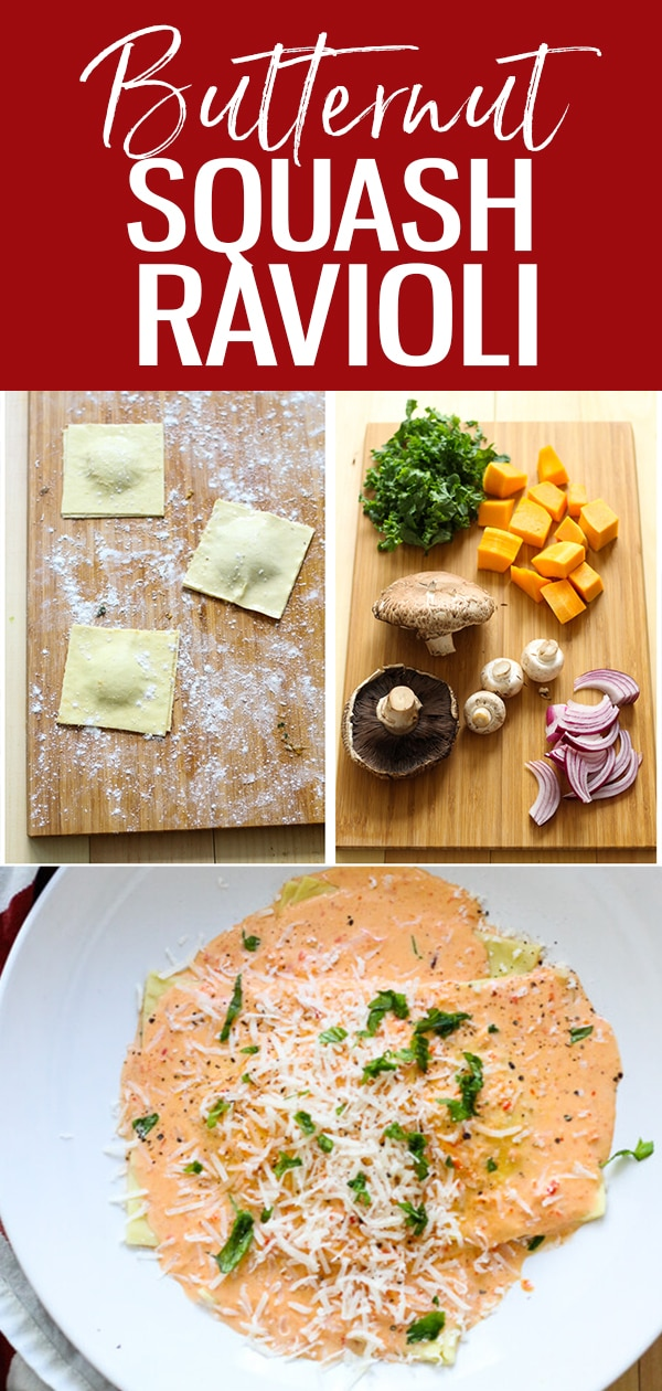 Butternut Squash Ravioli with a roasted red pepper alfredo cream sauce - all you need are some fresh lasagne sheets for easy homemade ravioli in seconds! #butternutsquashravioli