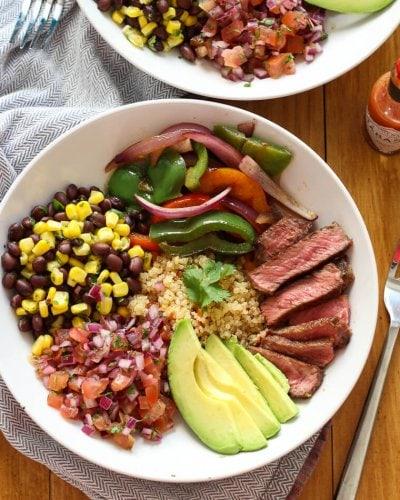 30 Minute Steak and Quinoa Burrito Bowl