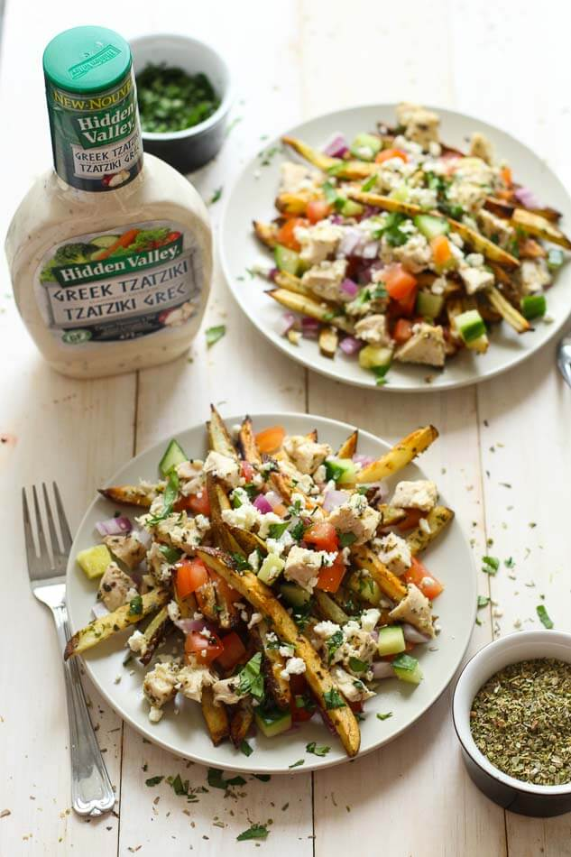 Baked Greek Fries with Chicken, Feta & Tzatziki