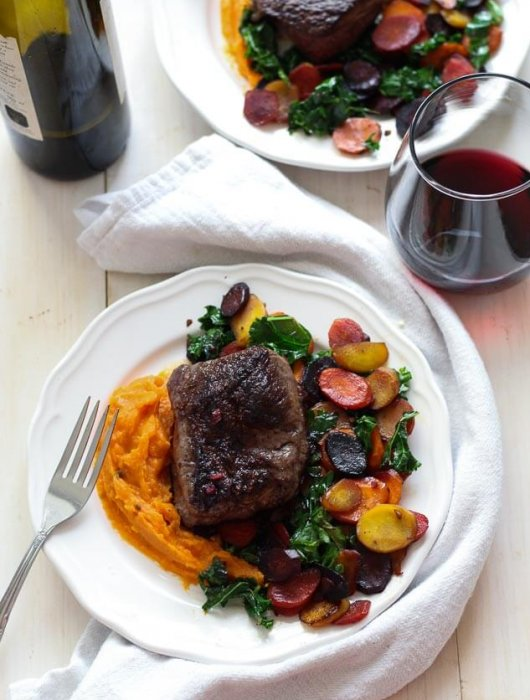 Pomegranate Glazed Steak and Rainbow Carrots