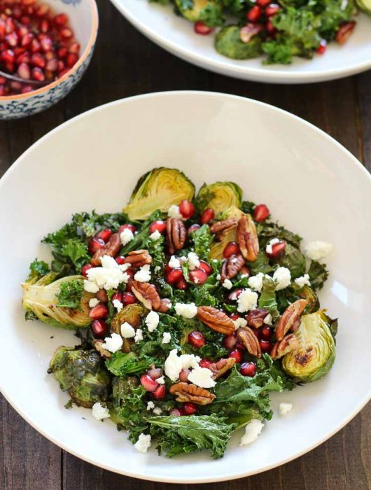 Roasted Brussels Sprout Salad with Pomegranate