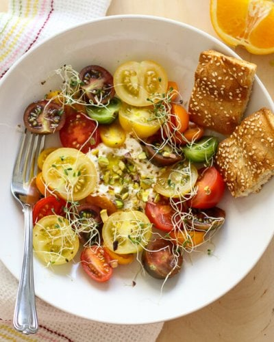 Heirloom Tomato Salad with a Quick Labneh
