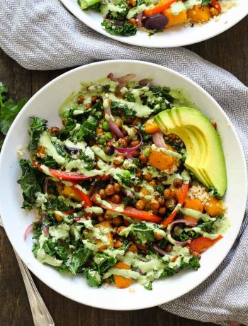Warm Tahini Kale and Quinoa Bowl + Roasted Chickpeas