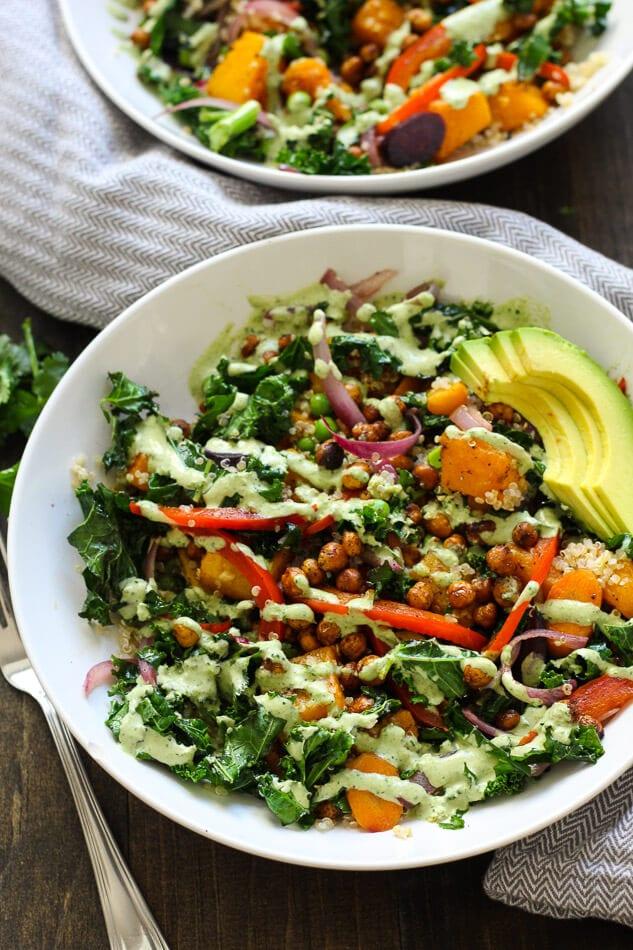 Warm Tahini Kale and Quinoa Bowl + Roasted Chickpeas