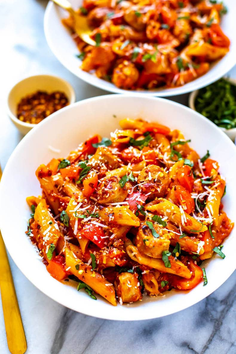 Pasta Arrabbiata with ground turkey