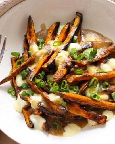 Sweet Potato Poutine with Vegetarian Gravy