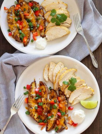 Tequila Citrus Chicken + Cheesy Potato Wedges