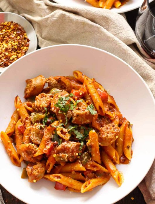 One Pot Spicy Turkey Sausage Arrabiata