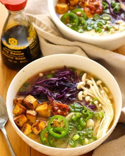 Miso Soba Noodle Bowls with Spicy Tofu