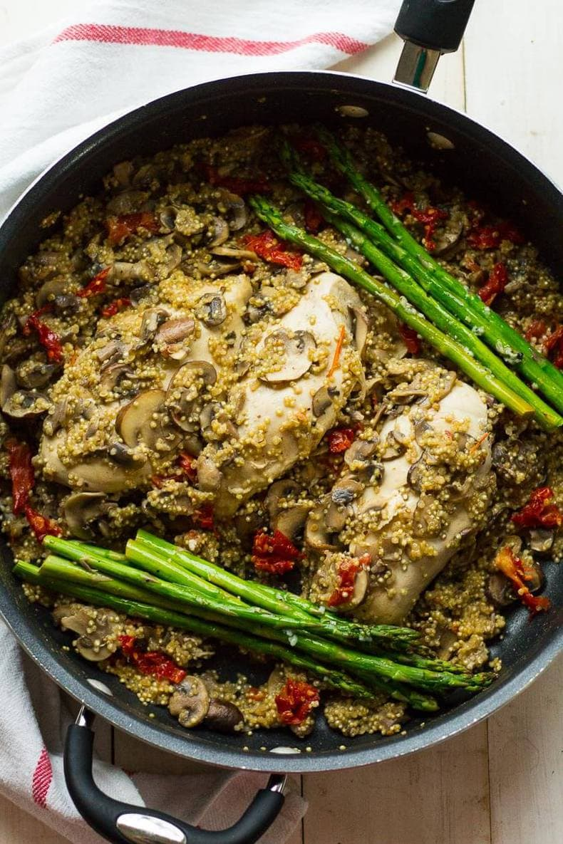 One Pan Creamy Chicken with Quinoa