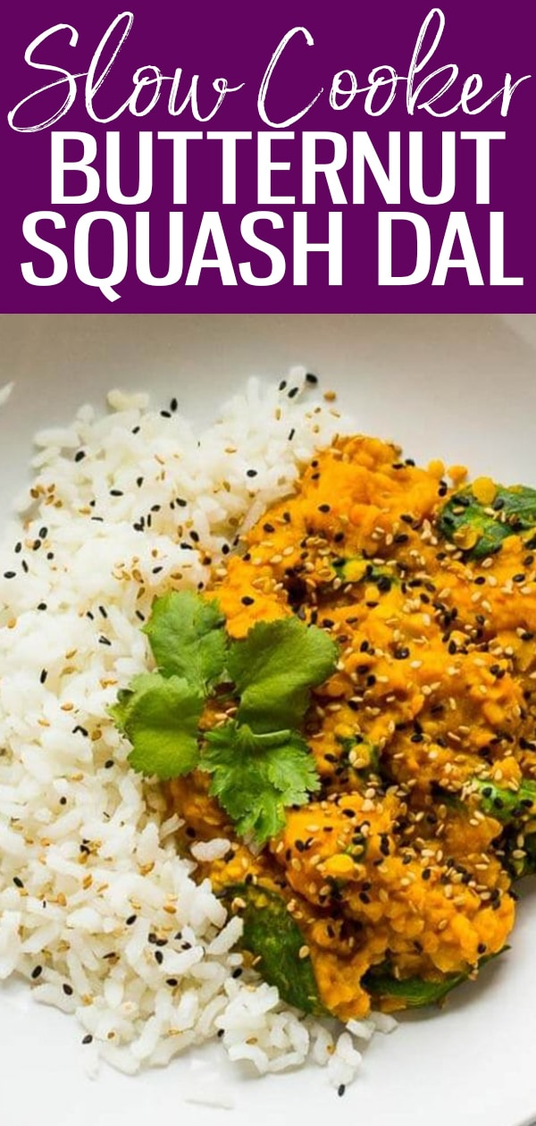 This Slow Cooker Butternut Squash Dal with lentils and coconut milk is a delicious vegan recipe - pair this Indian dish with basmati rice for a full meal! #slowcooker #butternutsquash #dal
