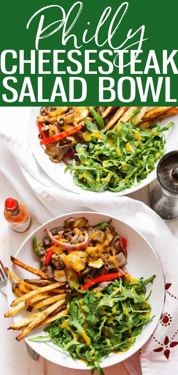 These Philly Cheesesteak Salad Bowls are a delicious, healthier way to enjoy the famous sandwich with lots of veggies and honey mustard dressing. #phillycheesesteak #Saladbowl