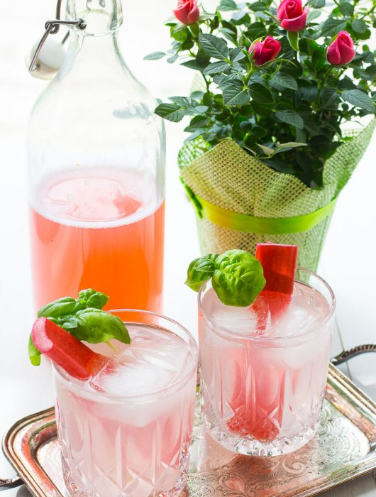Rhubarb and Rosewater Cocktail