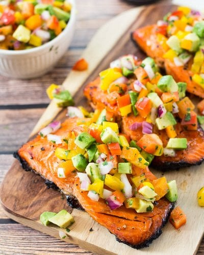 Easy BBQ Salmon with Avocado Salsa