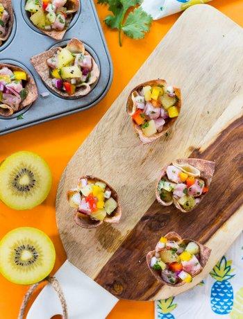 Tuna Poke Wonton Bites with Kiwi Salsa