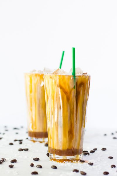 Salted Iced Coconut Milk Caramel Macchiatos (Video!)
