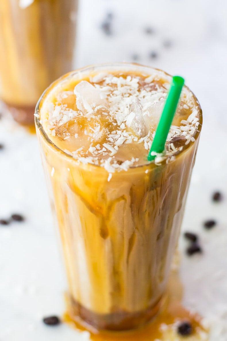 Iced Coconut Milk Caramel Macchiatos