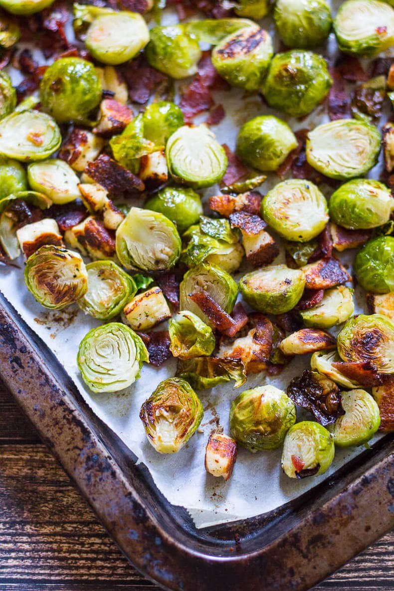 Bacon Brussels Sprouts with Halloumi cheese
