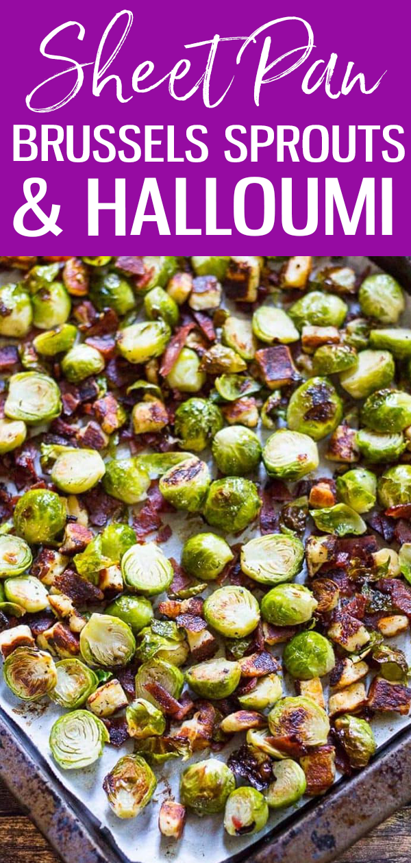 These Crispy Bacon Brussels Sprouts with Halloumi cheese are the most delicious, oven-roasted fall side dish and ready in just 15 minutes! #sheetpan #brusselssprouts