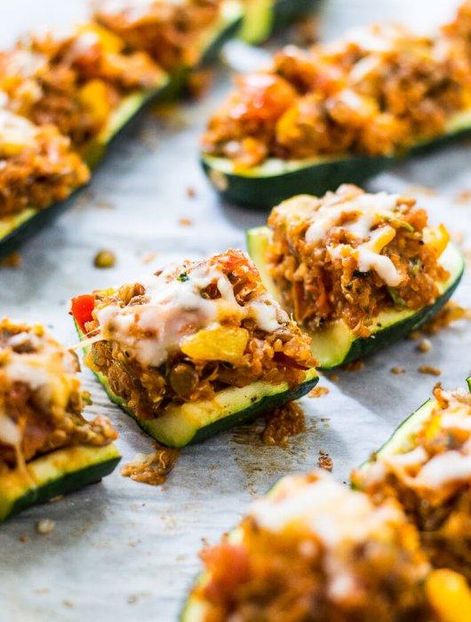 Mini Vegetarian Tex Mex Stuffed Zucchini Boats