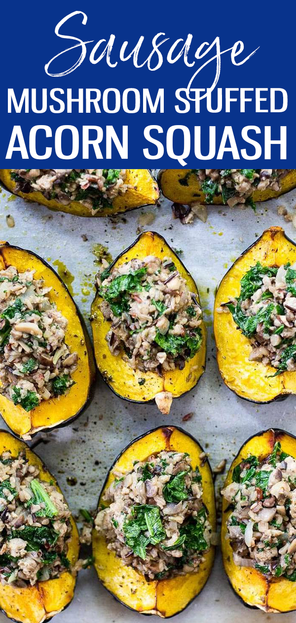 ThisSausage & Mushroom Stuffed Acorn Squash is going to become your new favourite Thanksgiving main - the perfect comfort food! #acornsquash #lowcarb