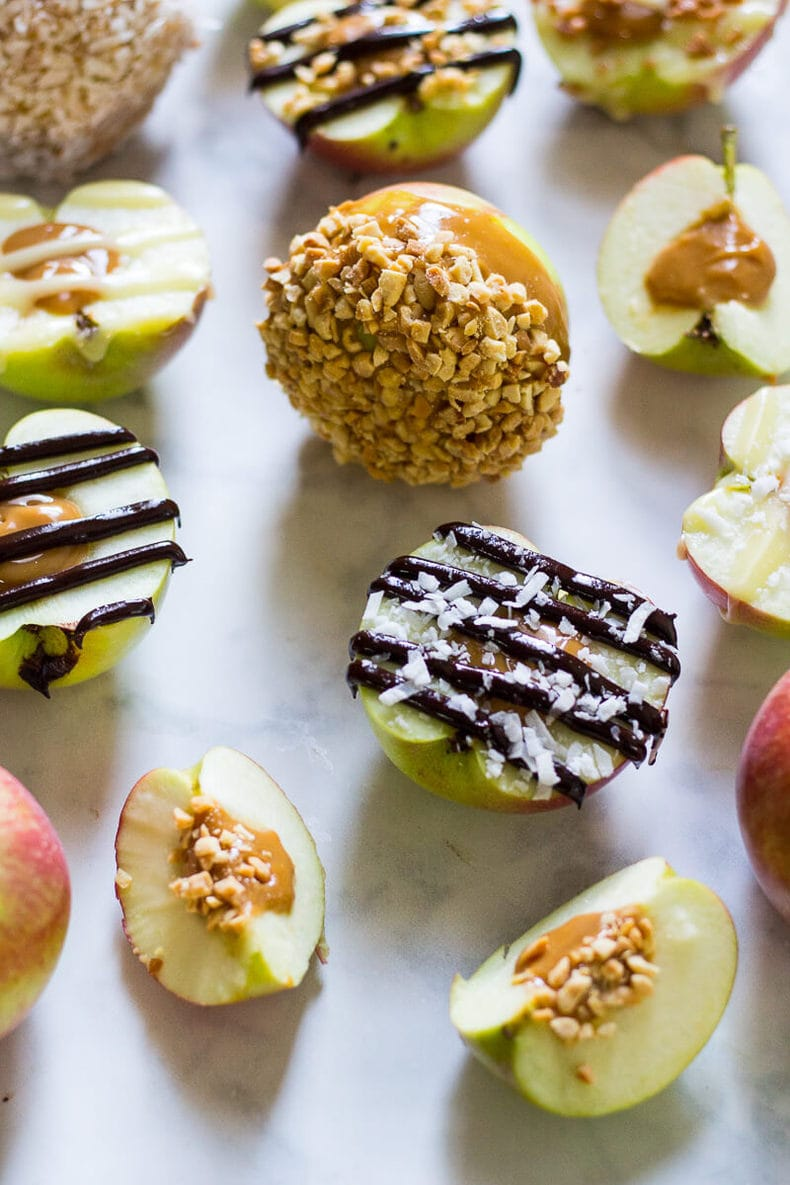 Stuffed Caramel Apples with Chocolate Drizzle