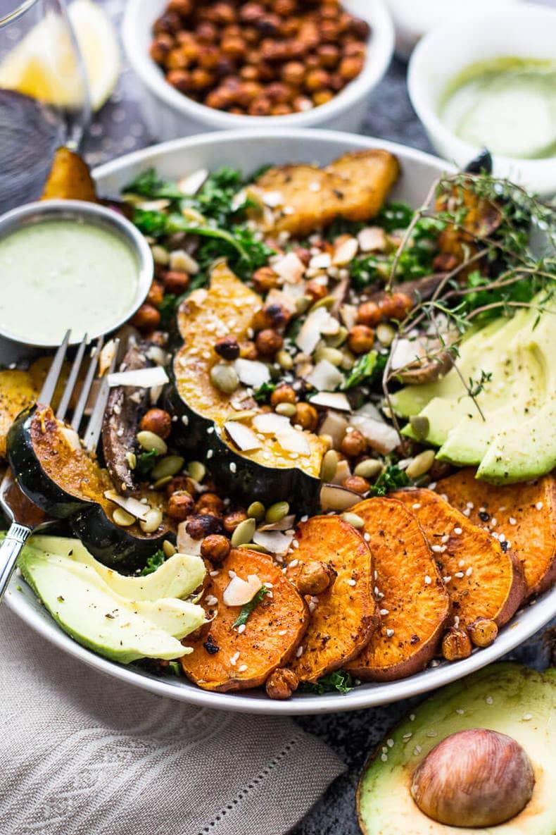 Sweet Potato, Squash and Kale Buddha Bowl