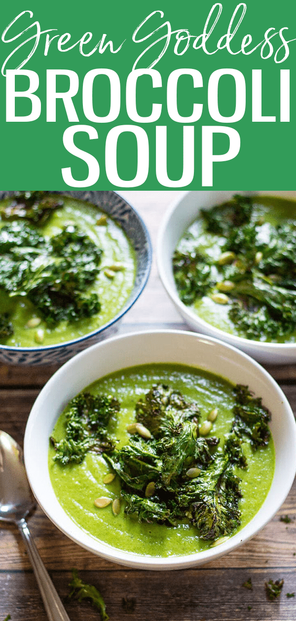ThisGreen Goddess Vegan Broccoli Soup is topped with kale chips and packed with leafy greens – you won't even notice it's dairy-free! #vegan #broccolisoup #greengoddess
