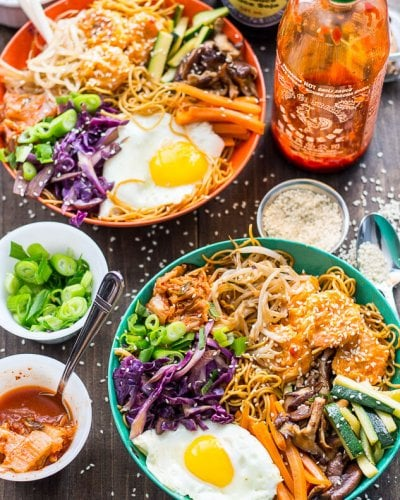 Bang Bang Shrimp Bibimbap Noodle Bowls