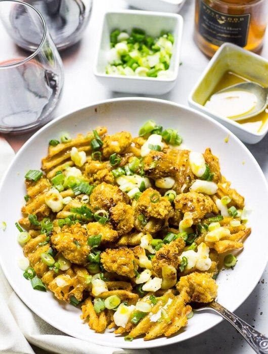 Popcorn Chicken & Waffle Fries Poutine