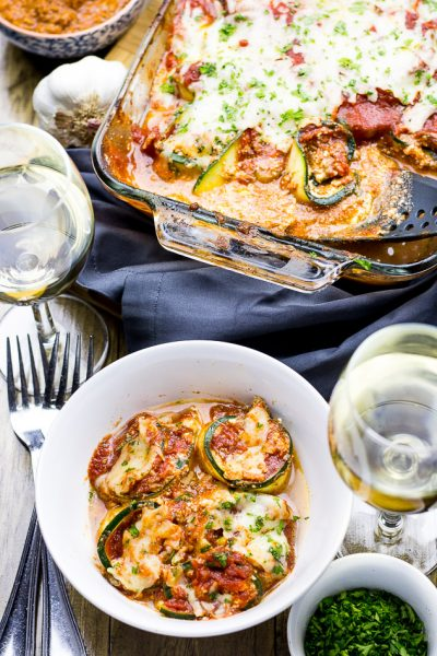 Bolognese Zucchini Lasagna Roll Ups (Video!)