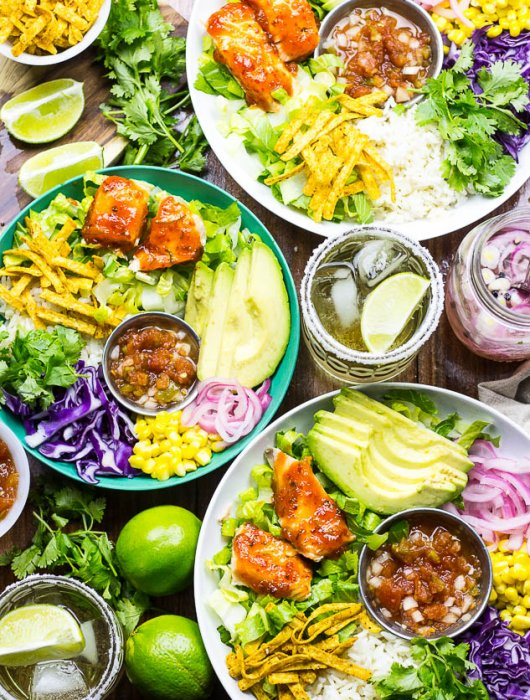 Chili Lime & Ginger Salmon Taco Bowls