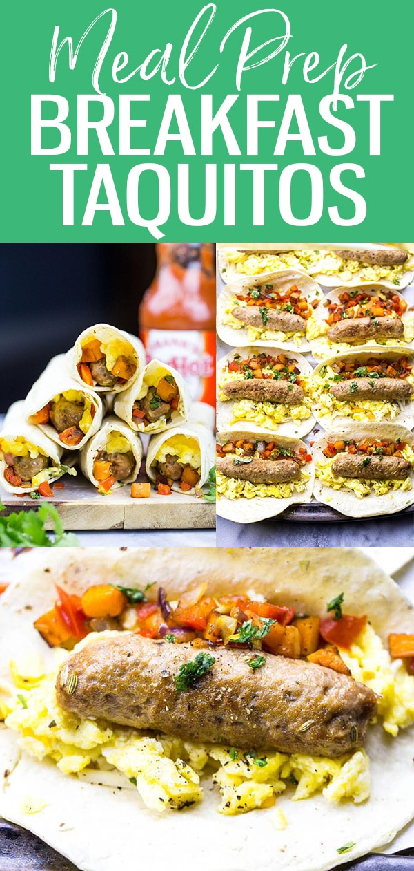 These Freezer-Friendly Meal Prep Breakfast Taquitos are the ultimate make-ahead breakfast for busy mornings, filled with scrambled eggs, sweet potato & breakfast sausage. #breakfasttaquitos #mealprep #freezerfriendly