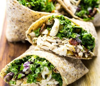 Chicken and Kale Caesar Wraps