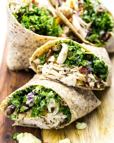 Chicken and Kale Caesar Wraps (Video!)