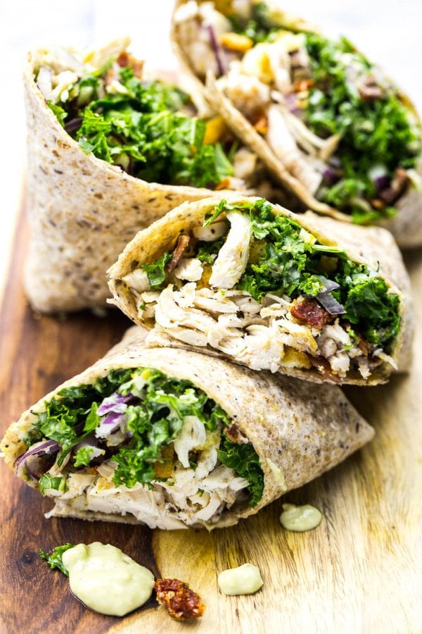 Chicken and Kale Caesar Wraps | The Girl on Bloor