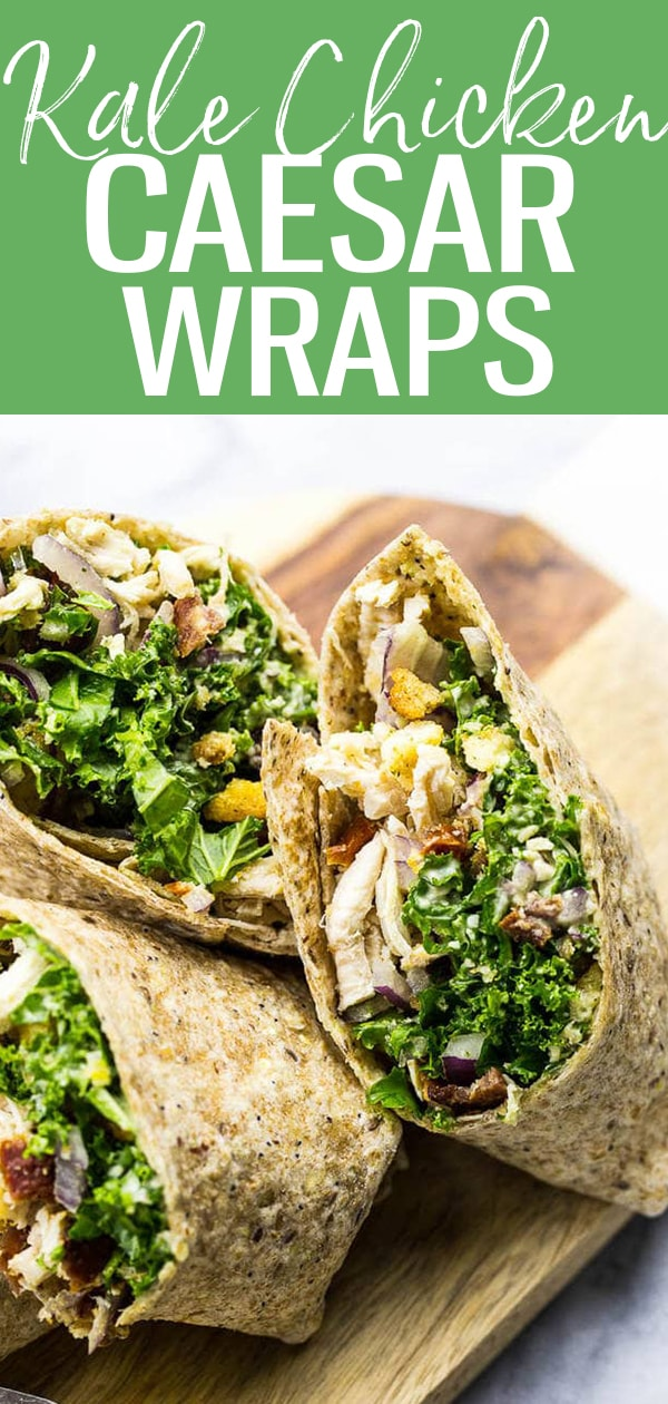These veggie-filled Chicken and Kale Caesar Wraps are the perfect on-the-go lunch and include a lighter vegetarian avocado caesar dressing! #caesarwraps #kalecaesar