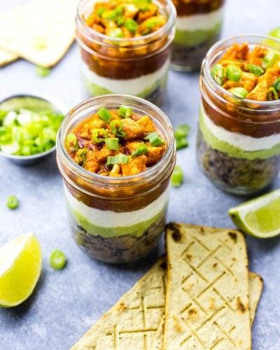 Mini Buffalo Chicken Salsa Dip Jars